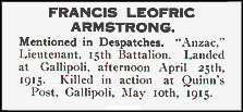 Death Notice - Frank Armstrong