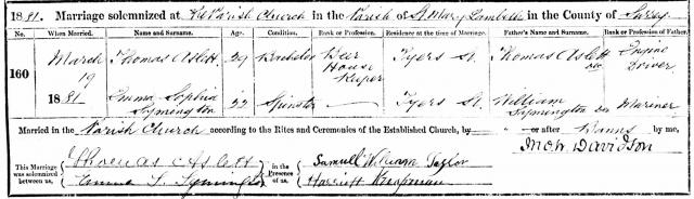 Marriage Certificate of Thomas Aslett and Emma Symington